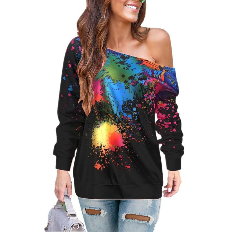 Tie Dyes Oblique Shoulder Long Sleeve Blouses