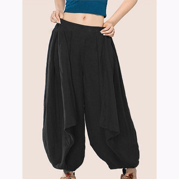 Casual Solid Color Elastic Wide-Leg Pants
