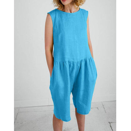 Summer Solid Color Round Neck Plus Size Jumpsuit