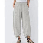 Summer Fashion Trousers Pockets Striped Casual Capri Pants