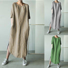 Casual Cotton Blend Solid Color Round Neck Dress