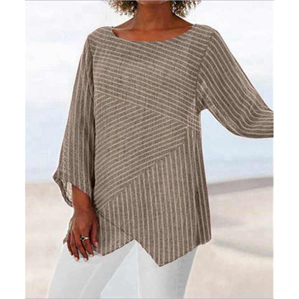 Daily Long Sleeve Striped Irregular Tops