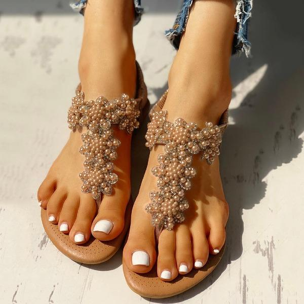 Women's Summer Beaded Design Toe Post Sandals