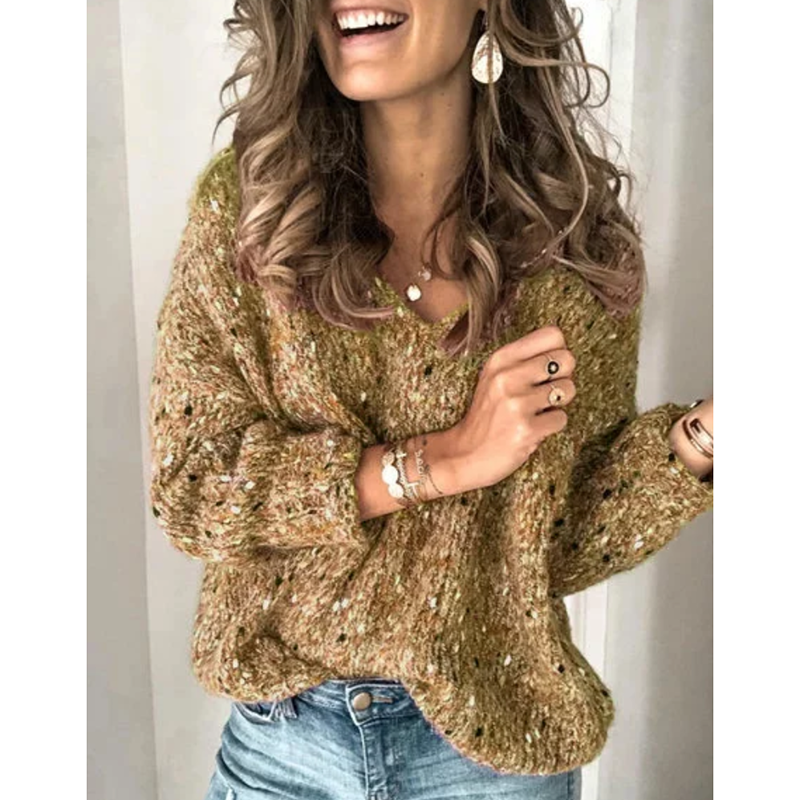Women's V-Neck Long-Sleeved Casual Pullover Sweater