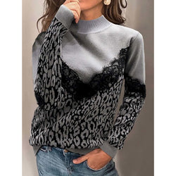 Leopard Print Paneled Turtleneck Long Sleeve Sweaters