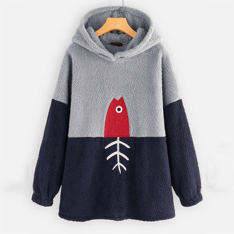 Casual Large Size Stitching Long Sleeve Hooded Tops
