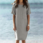 Women's Slim Round Neck Pocket dress