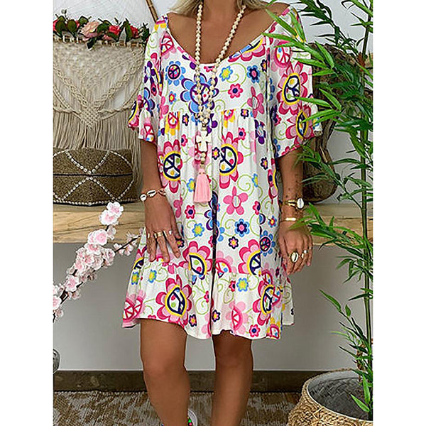 Plus Size Printed Loose Ruffle Hem Dress