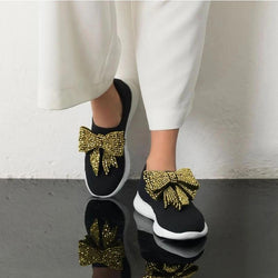 Autumn Women Rhinestone Bowknot Sneakers