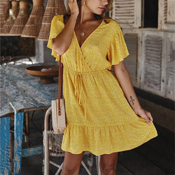 Summer Short Sleeve V Neck Women Dress