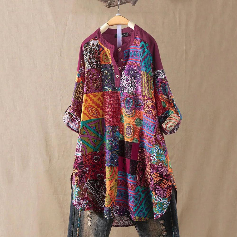 Ethnic Style Floral Print Patchwork Button Shirts