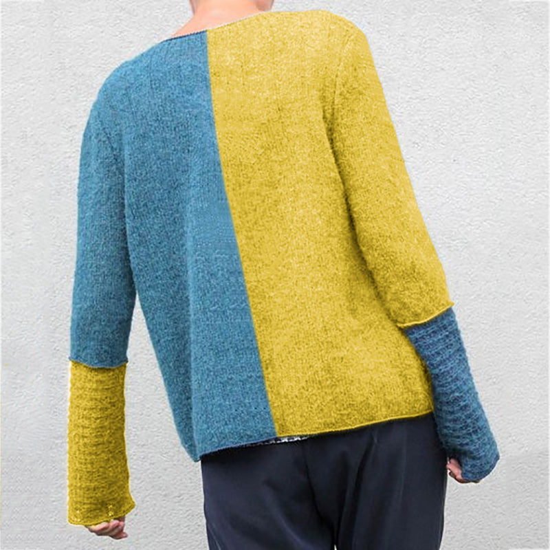 Blue Knitted Casual Sweaters