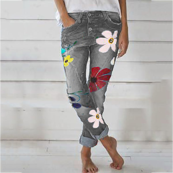 Casual Button Printed Denim Pants