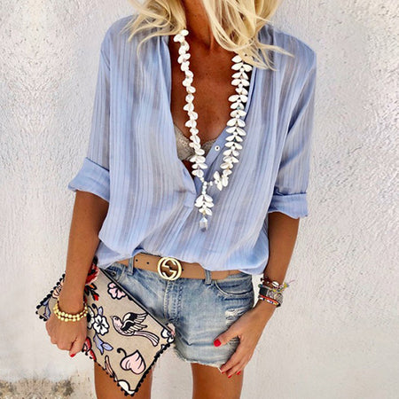 Casual Solid Color Long Sleeve Button V-Neck Blouse