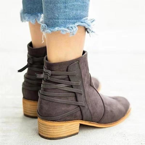 Fashion Lace-Up Embellishment Booties