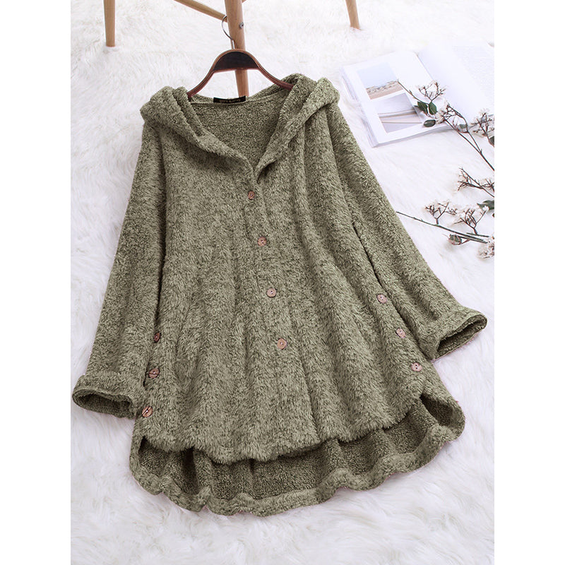 Hooded Button Long Sleeve Coats
