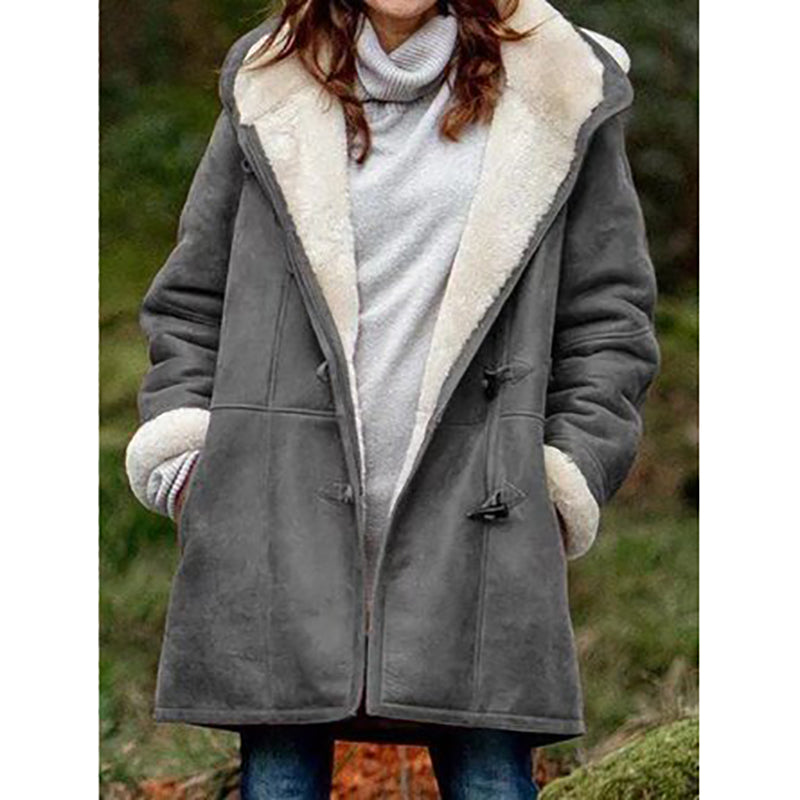 Women's Winter Button Hooded Plush Coats