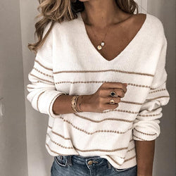 Autumn V-neck Striped Sweater