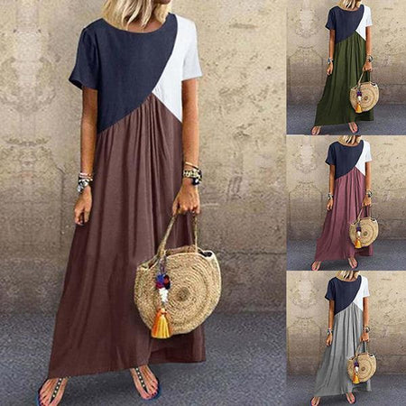 Splice Plus Size Short Sleeve Maxi Dress