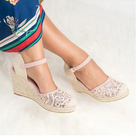 Lace High Heeled Lace Ankle Strap Round Toe Sandals