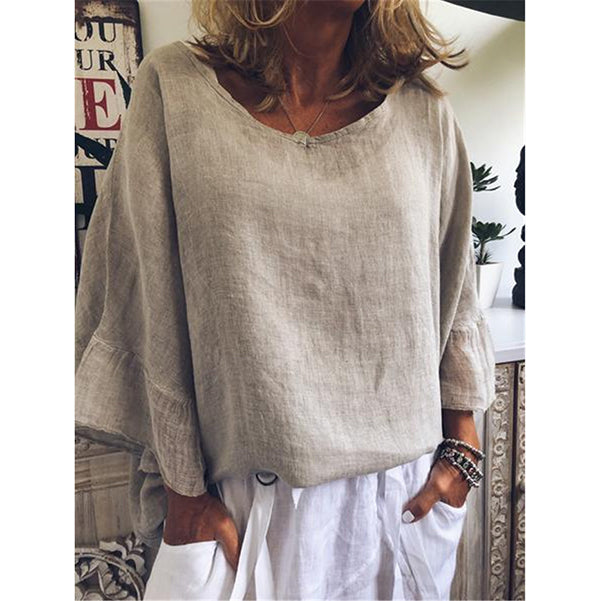 Casual Cotton Blend Solid Color Round Neck Blouse