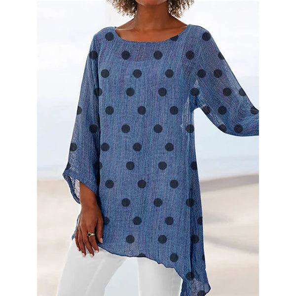 Casual Polka Dots Round Neck Blouses