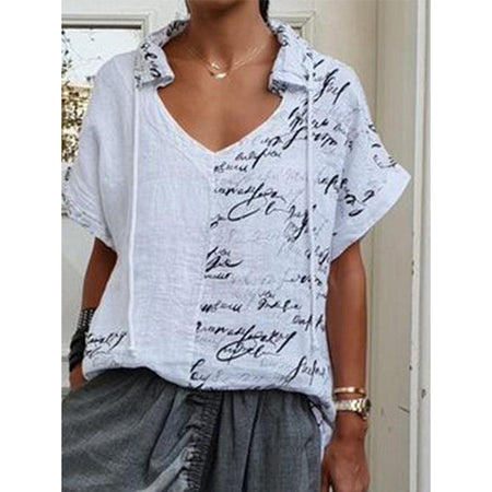 Letter Printed Short Sleeve Standard Blouse