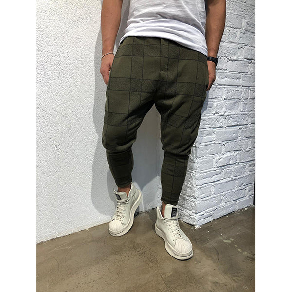 Summer Men's Grid Printed Casual Pants