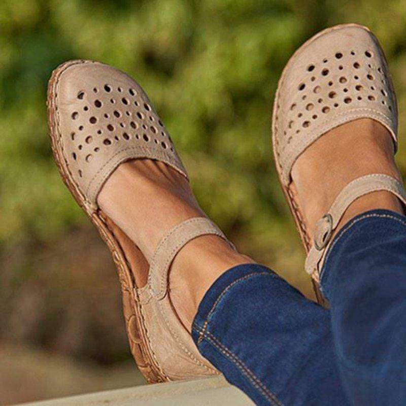 Women Summer Ladies Round Toe Hollow-out Flats
