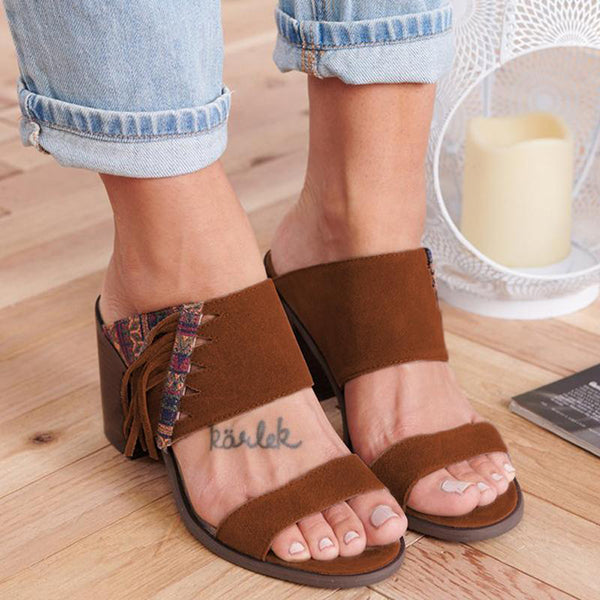 Women Casual Summer Double Strap Chunky Heel Sandals