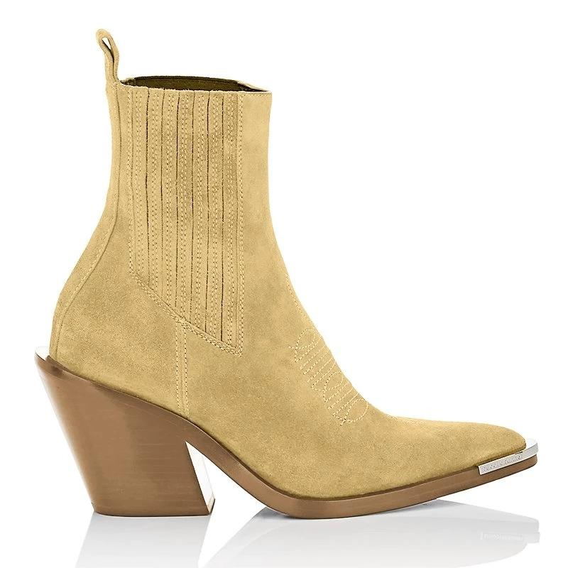 Chunky Heel Pointed Ankle Boots
