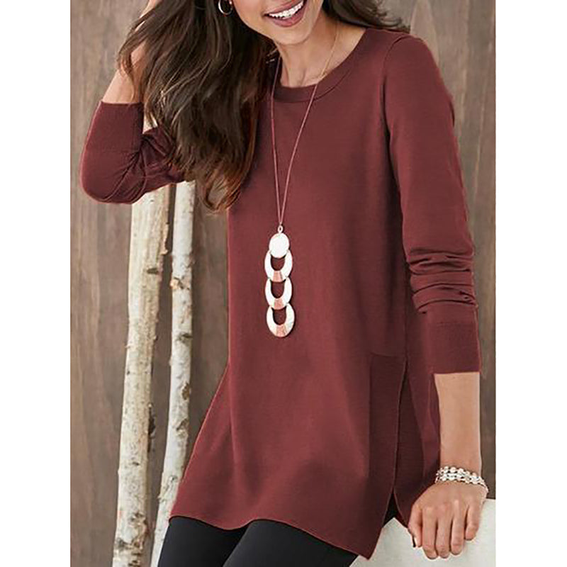 Plain Round Neck Long Sleeve Top