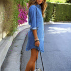 Women's Blue Jeans Denim Pocket Long Sleeve Loose Shirt Mini Dress
