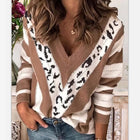 V-Neck Leopard Printed Long-Sleeve Sweater