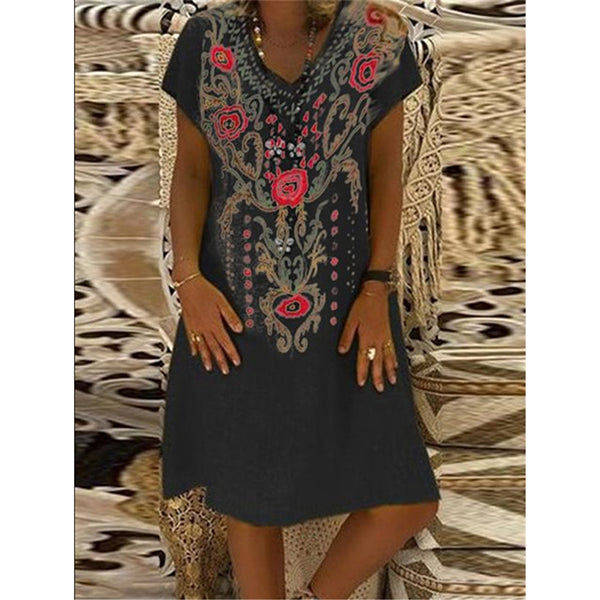 Daily Casual Printed Short Sleeve V-neck Dress