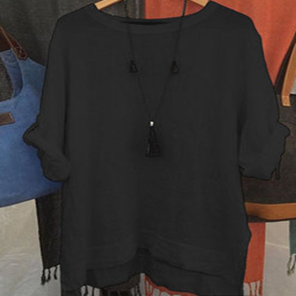 Large Size Solid Color Loose Round Neck Tops