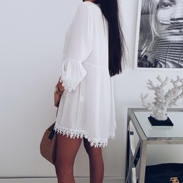 Summer Solid Color V Neck Lace Dress