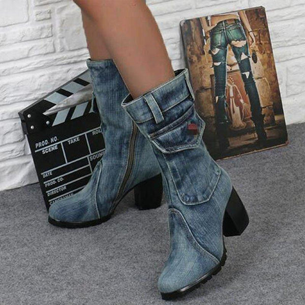Washed Denim Chunky Side Zipper Boots