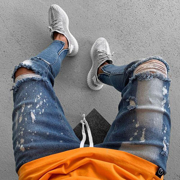 Casual Strappy Paint Printing Fork Hole Jeans