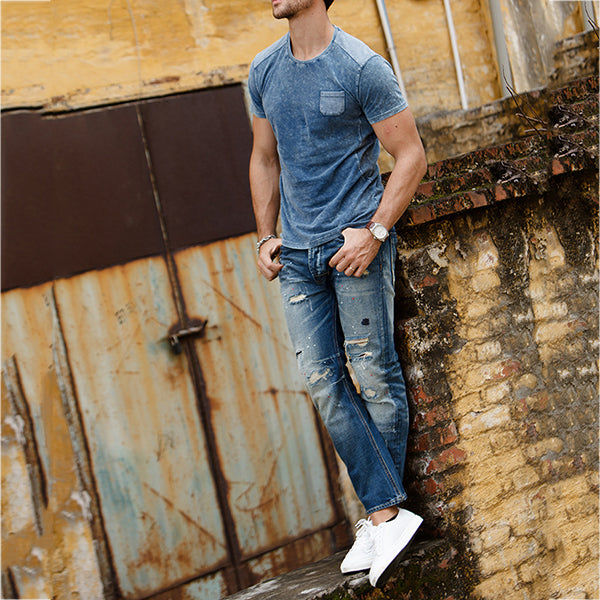 Round Neck Short Sleeve Distressed Tops