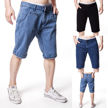 Men'Casual Solid Color Denim Shorts