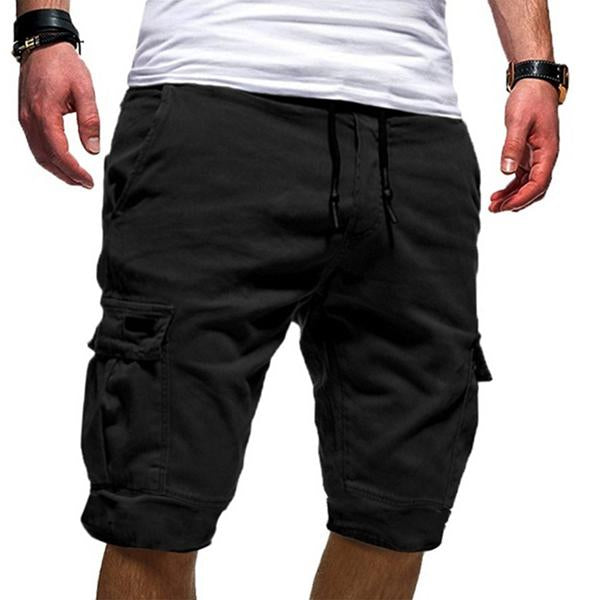 Solid Color Comfortable Lace-Up Shorts