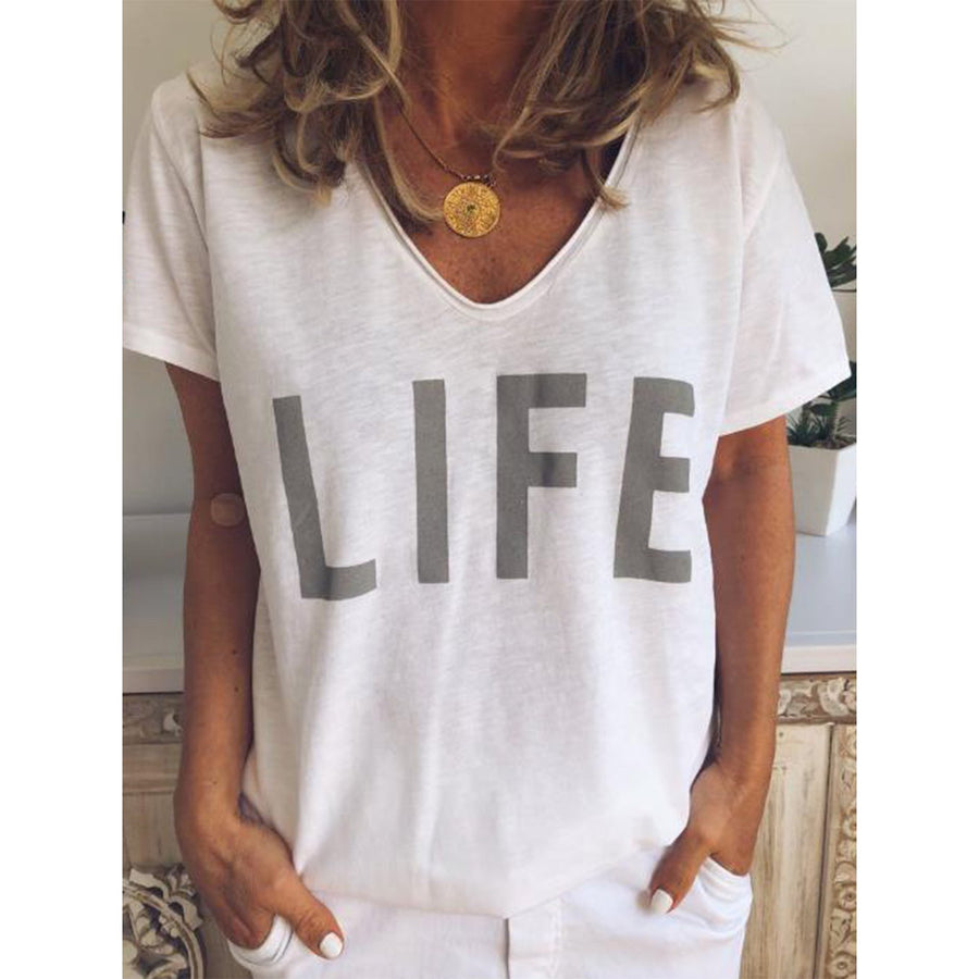 Casual V Neck Letter Print Short Sleeve T-Shirts