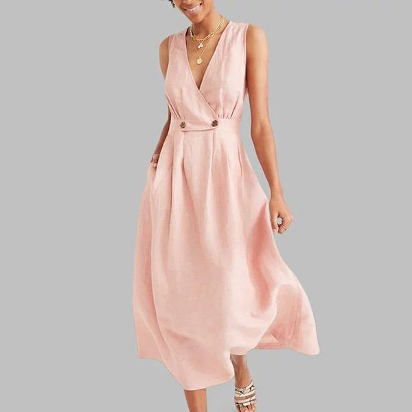 Sexy Elegant V Neck Solid Color Sleeveless Dress
