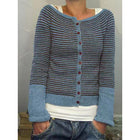 Autumn Striped Knit Button Cardigan