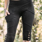 Women's Elastic Band Black Shorts