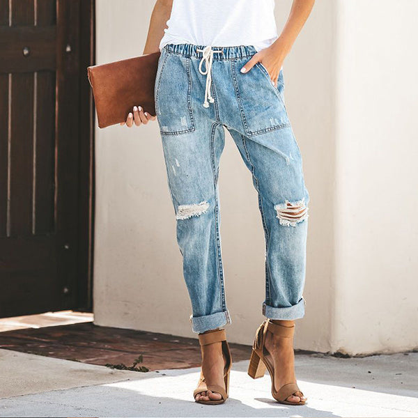 Daily Casual Elastic Band Ripped Jeans