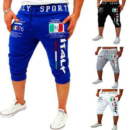 Lace-Up Flag & Letters Print Beam Feet Cropped Pants