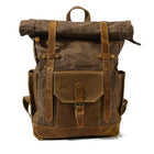 Natural Leather and Textile Men's Backpack