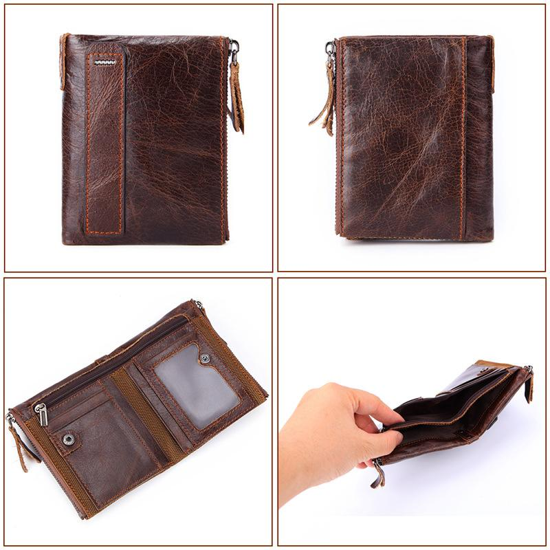 Mens Wallet Leather Design Bifold Zip Wallet